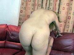 This sex-starved beauty is the full package! She has a big round ass and a nice pair of big tits. Shapely nympho knows what she wants. She climbs on top of her lover and rides him hard in cowgirl position.