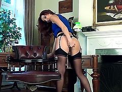 Young glamorous brunette babe Sophia Smith with tight sweet ass and pink nail polish in amazing lingerie and high heels teases her lower in pov and stretches pink pussy.