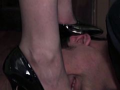 Lady Sophia Black and foot slave