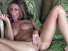 Big tits blonde beauty Anita Dark feels amazing while deep stimulating her fresh twat