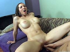 Dirty harlot moans like crazy while dude pokes her snatch in missionary style position. He drills her and her big appetizing boobs bounce with joy.
