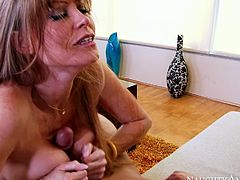 Mature bobmshell Darla Crane gives head to Danny Mountain