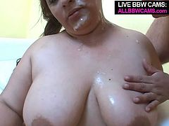 Luscious brunette wench with huge natural boobs and fat ass gives professional blowjob working her mouth lips intensively. After hot cock sucking action lusty bitch is screwed bad doggy style. When the guy reaches the happy ending he glazes her chubby face with huge facial cumshot.
