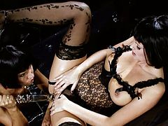 All of three porn actress are looking amazingly seductive wearing tempting lingerie and lacy stockings. Passionate girls please one another with glass sex toys. Exciting high quality porn video presented by Private studio.