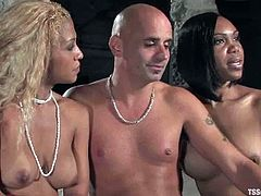 This guy gets his dick sucked by two hot chicks. Wait...they are not chicks! They have big dicks. But it is too late. He gets pounded in his ass by two hot transsexuals.