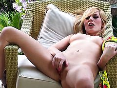 Hayden Hawkens displays her naughty parts before she masturbates