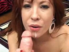 Busty mom loves to suck cock and stroke it hard between her hands