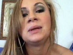 Curvaceous blonde chick fondles and show her shaved pussy. Then she gives blowjob, handjob and a titjob in POV video.