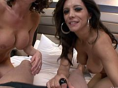 Moms Francesca and Veronica are two whores that know how to have a good time. They have some lesbian action and then I introduce them to my hard dick. The sluts go wild with my penis and start sucking it. Look at them how nicely they share my cock - getting along so good. On which one should I cum?