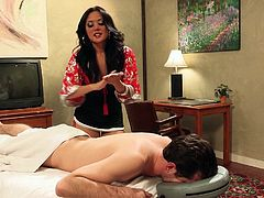 Smoking hot brunette Lei is at the hotel. She's bored, but has to do her job as a masseur. Lei enters the room, where this guy waited for her and started to massage him, until she felt horny. The lovely whore gives his cock a massage too, using her sexy lips. Now this is some hi class hotel services