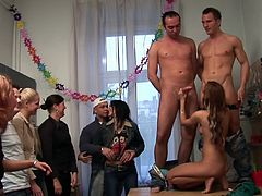 Slutty young Angela feels great while having sex with so many studs