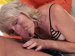 Sex-starved granny sucks her lover's cock with great enthusiasm