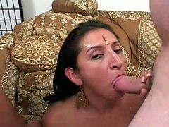 Hairy vagina is ready to be destroyed and this horny fucker and his friend are ready to put that Indian slut in a huge pain and cum on her face.