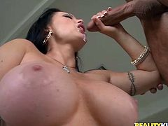 Get a load of this babe's big round breasts and her massive ass in this hardcore scene where this guy has a blast nailing her.