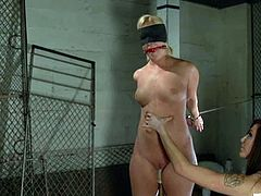 Chubby blonde Sasha Knox is having fun with Princess Donna Dolore in a basement. Donna binds Sasha and stuffs her cunt with a wired toy and then makes her undergo some tortures.