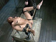 Kinky Asian chick Yasmine de Leon lets some man put her into a pillory in a basement and play with her holes.