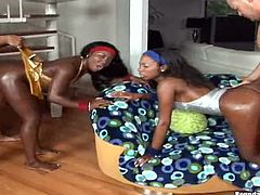 Ebony babes have a foursome with big cocks