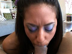 After giving hot POV blowjob, alluring doll gets huge load splashing her face