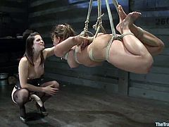 Ariel X is playing dirty games with Bobbi Starr in a basement. Bobby ties the busty milf Ariel and fingers her snatch before fisting and toying it hard.