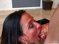 Ariella Ferrera is a seductive big titted milf brunette that cant wait to take young guys hard dick in her pussy. She gives head and gives unthinkable titjob before she takes his rod up her thirsty pussy.