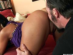 Press play on this hardcore scene where this sexy brunette's drilled by this guy's thick cock as she makes amazing pleasuring faces.
