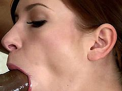 Jessica Rox has finally agreed to take a shower with her long time boyfriend and can�t resist soaping up his dangling dong, but once they pull down her dress, he begins licking and sucking on her nipples, until they begin to harden. Next, she gives his big, fat, black dong a deepthroat blowjob, while spreading open her legs and masturbating, until after some final jerking, his rod shoots her mouth with his warm juices.