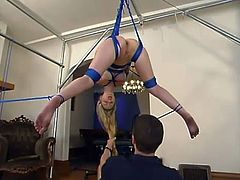 What a bondage action this is to witness! Smoking hot and sassy babe Chanta-Rose is under a severe bondage with a ball gag in her sweet mouth.