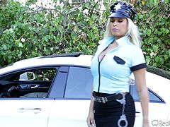 Brigette pulls over Johnny and prepares to give him a ticket! The busty blonde is just doing her job but today, she wants something out of her routine! She decides it's time to penalize this dude by some other ways so she goes inside the house with him and reveals her boobs. The dude goes crazy and she blows him