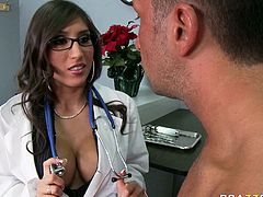 Busty Latian temptress Alexis Breeze has a big surprise for her patient. She tells him that she wants to give him a blowjob. She sucks his stiff dick like a pro. Check out this hot sex video and I'm kinda sure you will appreciate her cock sucking skills.