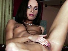 Lauryn May with tiny tities and hairless bush is full of desire to fuck herself with toy