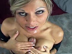Oh, just check this sexy babe out! She gets naked and starts having so much fun on that huge cock! She loves it in her mouth and then in her snatch.
