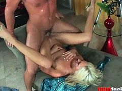 Slim blonde babe on high heels gets her ass spanked and pussy fucked hard. The guy also pulls her hair while ramming Kacey from behind.
