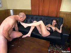 Audrey Leigh is having fun with a guy called J indoors. She dominates the dude and then brutally fucks him mouth and tight butt with a strapon.