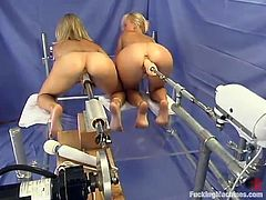 Check the hot sexy blondes having hot lesbian sex and playing with fucking machines in this very hot and arousing video.