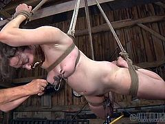 This white whore is all tied up and hangs there, with a bondage device in her mouth, and weights on her nipples. The black executor spanks her body in sensitive areas, inducing her more pain and gives her butt a few hard spanks too. She experiences some pain and humiliation, and that's just for begining
