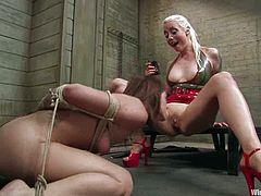 There's gag ball action, bondage, toying and torture in this lesbian BDSM video with a submissive girl enjoying the domination.