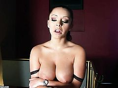 Liza Del Sierra with giant jugs strips down to her birthday suit and has fun alone