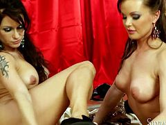 Naughty babes fondle each other and suck nipples. Be pleased with their supple bodies and big juicy tits. Fame Digital lesbian sex video is everything your heart desires.
