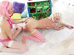 Katie Angel is about to get orgasm after taking Jayda Diamondes tongue deep in her honeypot