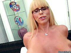 Danny Wylde makes his rock solid tool disappear in sex crazed Karen Fishers vagina
