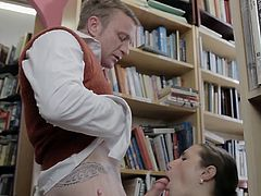 Big tits lady enjoys one large dick smacking her pussy during hardcore in the library