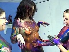 Don't skip this exciting sex tube video produced by Chick Pass porn site. Several naughty girls arrange messy party and smear paint over each others nude bodies.