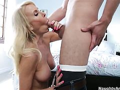 Oriental Erica Lauren with small booty and trimmed pussy plays with Danny Wyldes hard meat stick