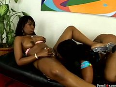 Luscious black women with big ample booties and wet soaking pussy holes are pleasing one another with tongue. They are really hot in lesbian sex action. Check this out at Anysex.com