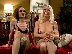 Lovely blonde mistress dominates Owen Gray. He is in a wig, lingerie and high heels. He sucks a strap-on and then gets toyed from behind.