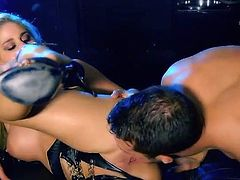 Superb blonde chick gives a blowjob and gets her hot pussy licked in close-up scenes. After that Cathy gets pounded in the ass.