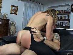 Blonde Italian hottie Caty Campbell bends over and gets her asshole fucked hard and deep. She gets soaking wet and ends up with her butt gaped.