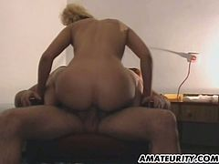 Homemade video with hot blonde getting fingered. Then she gets rammed on an armchair. After that she sucks a dick and gets a mouthful.