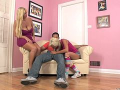 Kaylee Hilton and Karen Fisher are having fun with some dude. The blonde milf gives some tips on how to suck a cock and then the teen has some cock-sucking practise.