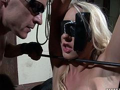 This spoiled blondie is tied up and blindfolded. Horny bondage master clamps metal clothespins on his slave's swollen nipples. Check out this wild BDSM sex video and get ready to cum!